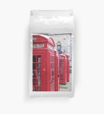 Red Telephone Boxes, London Duvet Cover