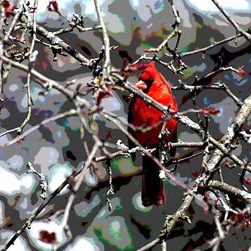 Cardinal in Spring by VeganBear