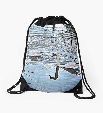 Swan Tranquility !  (interesting info in description) Drawstring Bag