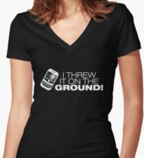 I Threw It on the GROUND! (White Version) Women's Fitted V-Neck T-Shirt