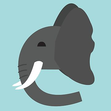 Geometric Elephant - Blue by harperalex