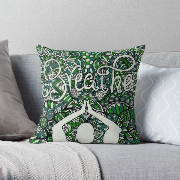Breathe Buddha Zentangle Throw Pillow