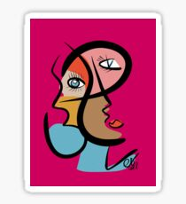 Portrait of a Woman Red Rubine Cubist Expressionist  Sticker
