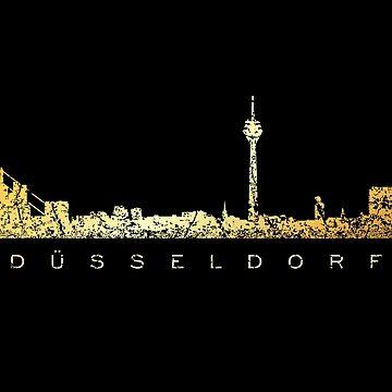 Dusseldorf Skyline (Vintage Gold) by theshirtshops