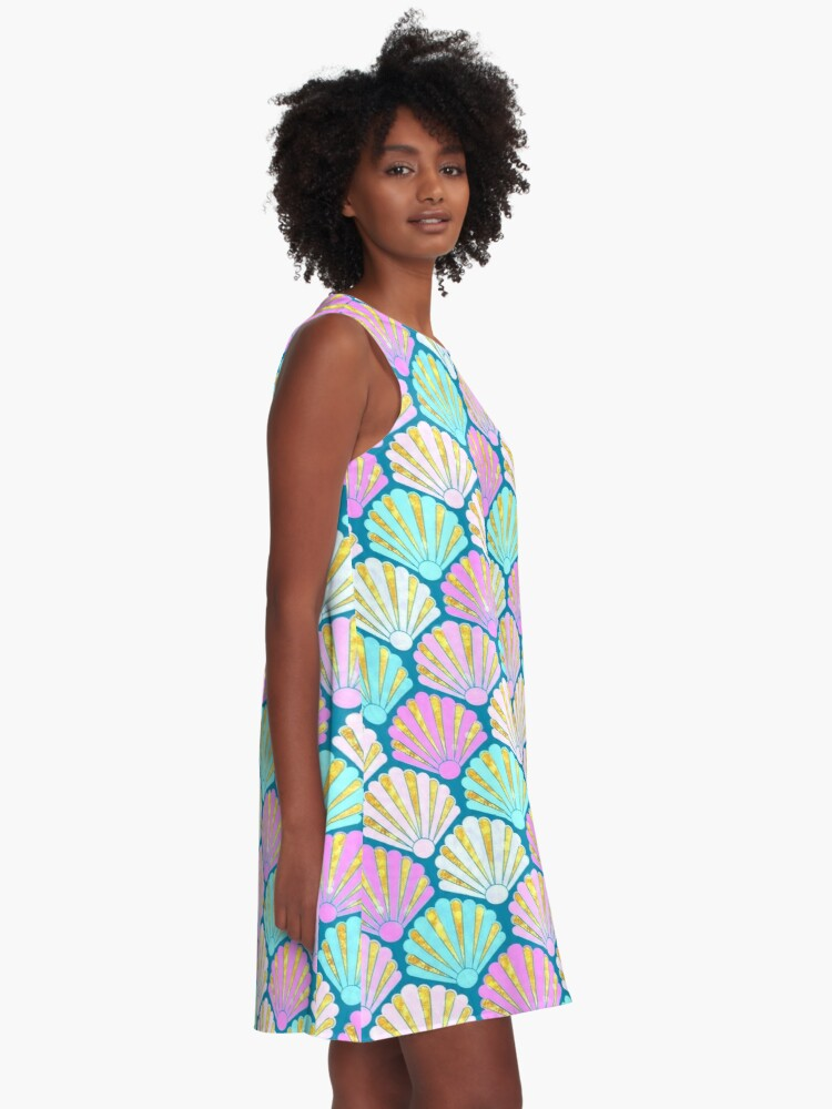 Alternate view of Seashells in lilac, pink and teal // mermaids shells A-Line Dress