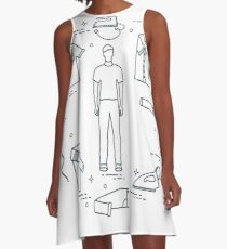 Silhouette of a man, irons and different clothes. A-Line Dress