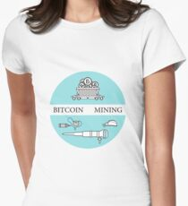 Railway car, bitcoin, dynamite, jackhammer, helmet Women's Fitted T-Shirt