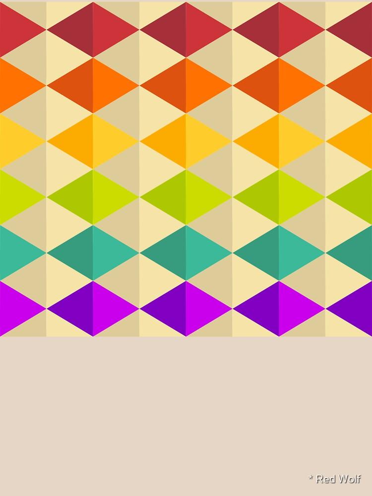 Geometric Pattern: Split Diamond: Rainbow by redwolfoz