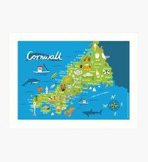 Cornwall Map Art Print