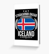 Iceland Flag Soccer Slogan T Shirt Greeting Card