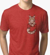 Pocket Cute Maine Coone Kitten Tri-blend T-Shirt