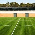 Centerline of an empty soccer stadium by mrfotos
