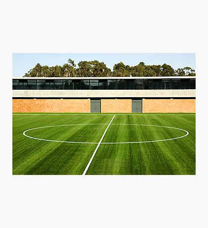 Centerline of an empty soccer stadium Photographic Print