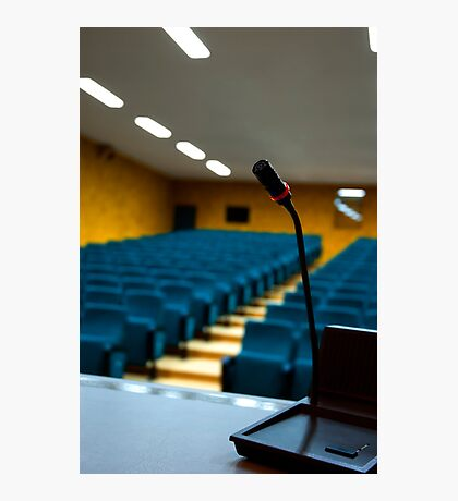 Microphone in an empty auditorium Photographic Print