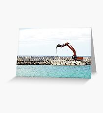 Heavy excavator machine in a pier construction site Greeting Card