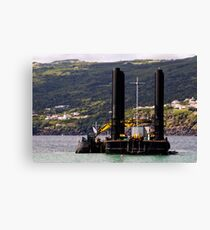 Dredger and barge working near the shore Canvas Print