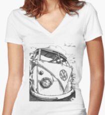 SPLiT  Bus Women's Fitted V-Neck T-Shirt