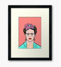 Frida Kahlo ( Coral background ) Framed Print