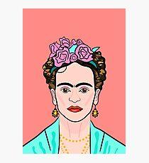 Frida Kahlo ( Coral background ) Photographic Print