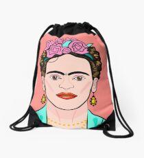 Frida Kahlo ( Coral background ) Drawstring Bag