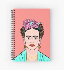 Frida Kahlo ( Coral background ) Spiral Notebook