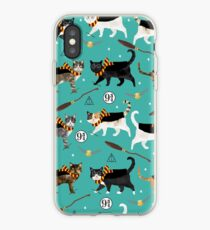 cat potter wizarding world pattern iPhone Case