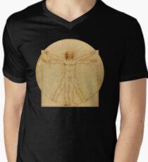 Camiseta para hombre de cuello en v Leonardo da Vinci - Hombre de Vitruvio