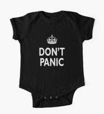 Don't Panic, white on black One Piece - Short Sleeve