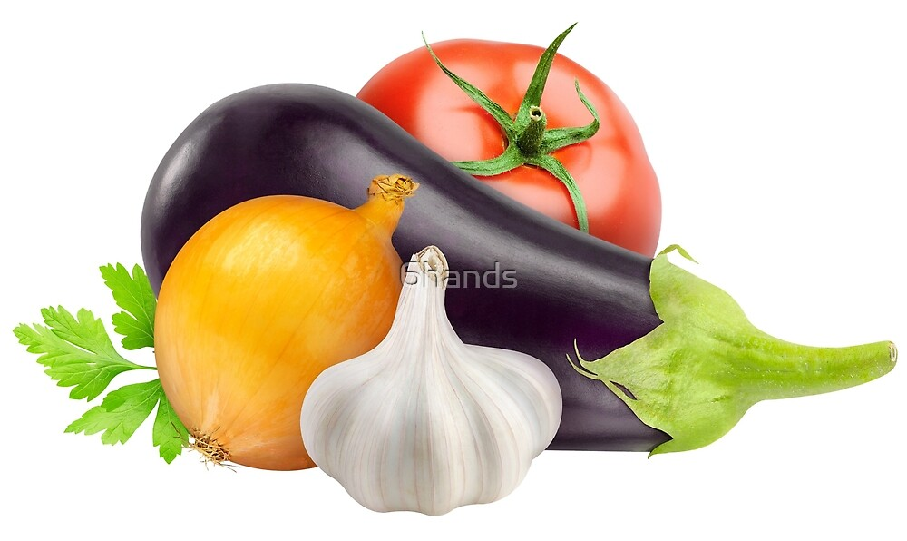 Eggplant and other fresh vegetables by 6hands