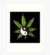 Yin Yang Weed Leaf 420 Life Art Print
