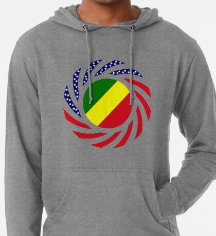 Congolese American (Republic of) Multinational Patriot Flag Series Lightweight Hoodie