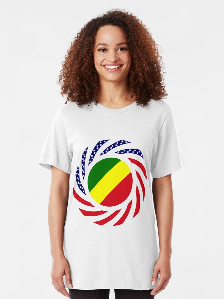 Alternate view of Congolese American (Republic of) Multinational Patriot Flag Series Slim Fit T-Shirt