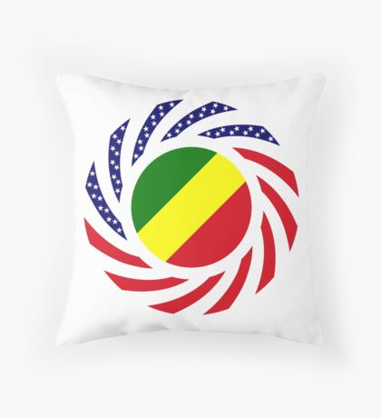 Congolese American (Republic of) Multinational Patriot Flag Series Throw Pillow
