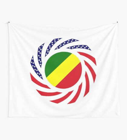 Congolese American (Republic of) Multinational Patriot Flag Series Wall Tapestry