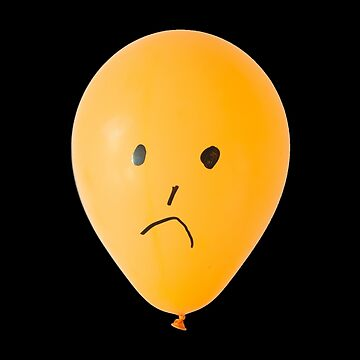 orange balloon with unhappy face by stuwdamdorp