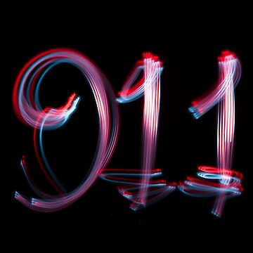 Emergency number 911 written with cycle lights by stuwdamdorp