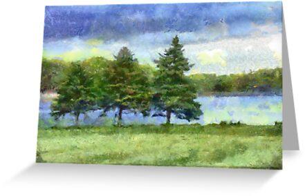 Pine Tree Lake - Digital Photograph Painting  by LjMaxx