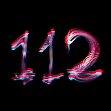 Emergency number 112 written with cycle lights by stuwdamdorp