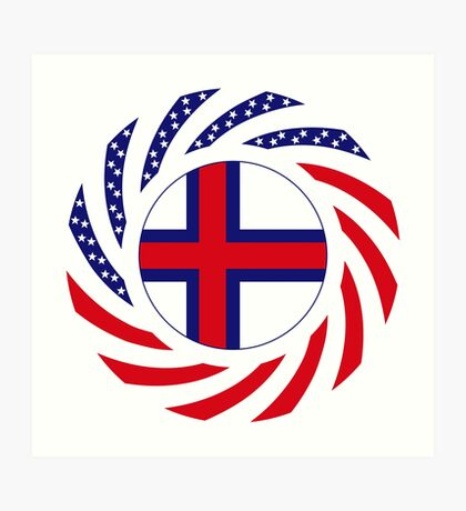 Faroe Islands American Multinational Patriot Flag Series Art Print