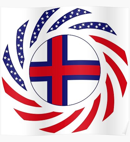 Faroe Islands American Multinational Patriot Flag Series Poster
