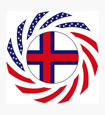 Faroe Islands American Multinational Patriot Flag Series Photographic Print