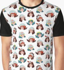 Female Pokemon Trainers Pattern Graphic T-Shirt