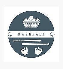 Gloves, balls, baseball bats. Baseball equipment. Photographic Print