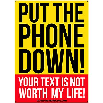 PUT THE PHONE DOWN, YOUR TEXT IS NOT WORTH MY LIFE by dtkindling