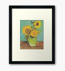 Three Sunflowers in a Vase by Van Gogh Framed Print