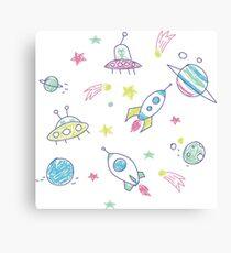 Space adventure doodle Canvas Print