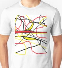 Abstract in Red, Yellow, & Black... on White T-Shirt