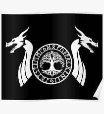 Norse Dragon - Yggdrasil White Poster