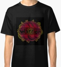Warrior - doodle fluorescent word on the black background Classic T-Shirt
