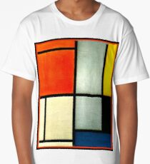 Mondrian - Tableau 3 with red, orange... Long T-Shirt